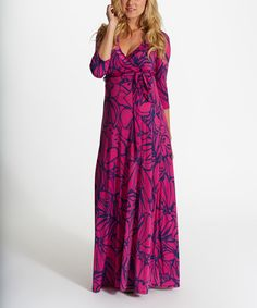 Another great find on #zulily! PinkBlush Magenta & Purple Floral Maternity Wrap Maxi Dress #zulilyfinds