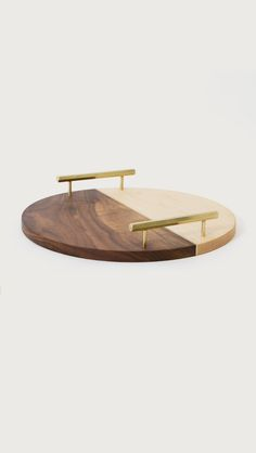 Wood and Gold Circle Service Tray by Chris Earl