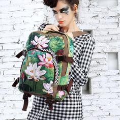 Walking Flower Lotus Oil Painting Canvas Travel Backpack B