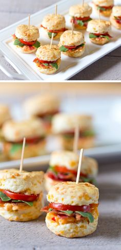 Don't miss this crowd-pleasing recipe for mini pimento BLT cheddar biscuits that's party ready and oh so delicious! Mini Appetizers, Finger Food Appetizers, Finger Foods, Appetizer Recipes, Heavy Appetizers, Holiday Appetizers, Mini Blt, Biscuits Au Cheddar, Cheese Biscuits