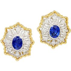 Preowned Mario Buccellati Sapphire Diamond Ear Clips (59 455 AUD) ❤ liked on Polyvore featuring jewelry, earrings, gioielli, blue, 18k jewelry, blue diamond jewelry, blue sapphire earrings, blue diamond earrings и pre owned jewelry