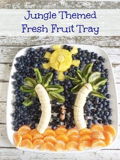 The Jungle Book Inspired Recipes: Fresh Fruit Tray and Apple Kiwi Kale Smoothies #JungleFresh