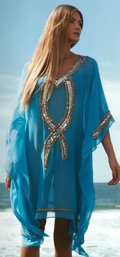 Ocean Blue and Beading Modest Dresses, Short Dresses, Love Fashion, Fashion Beauty, Cristina Ferreira, Oriental Dress, Teal Fabric, Swimsuit Cover Ups, Casual Elegance