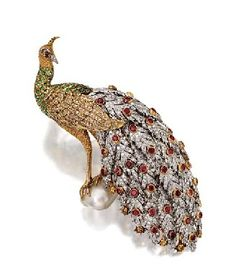 Diamond and Colored Stone Peacock Brooch, Buccellati