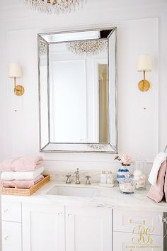 Glam Transitional Guest Bathroom Reveal - with Marble Silver and Brass - tour a bathroom remodel project with all the sources to create your own glam room Top Bathroom Design, Diy Bathroom, Diy Bathroom Decor, Room Accessories, Guest Bathroom, Bathrooms Remodel, Glam Room, Bathroom Furniture, Bathroom Design