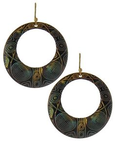 Burnished Gold Tone & Patina / Lead&nickel Compliant / Metal / Fish Hook / Circle / Dangle / Earring Set