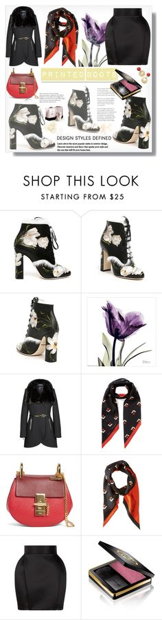 """""""Printed Boots"""" by bellamonica ❤ liked on Polyvore featuring Dolce&Gabbana, White Label, French Connection, Marc Jacobs, Chloé, Balmain, Gucci and Gianna Rose Atelier"""