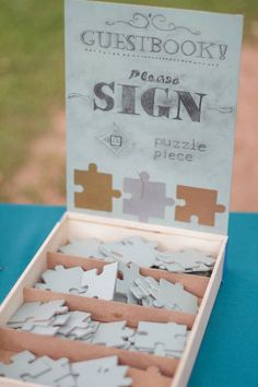 puzzle pieces unique wedding guest book ideas
