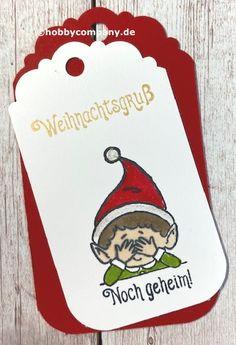 """Geschenkanhänger mit dem Stempelset """"Weihnachtself"""" von Stampin`Up!"""