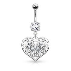 Tribal Heart Filigree Dangle Surgical Steel Belly Button Navel Rings