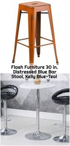 Flash Furniture 30 in. Distressed Blue Bar Stool, Kelly Blue-Teal , Flash Furniture 30 in. Blue Bar, Counter Bar Stools, Plush, Teal, Stainless Steel, Distressed Furniture, Pop, Steel Frame, Home Decor