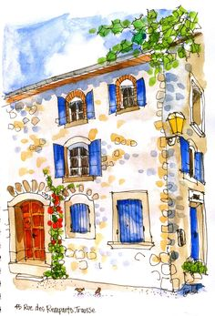 House on the Square, Trausse, France ErinHillSketching. We have sketching workshops in Languedoc where you'll learn to sketch the local scenes, and Travel Sketching Holidays around the world. For beginners to experienced. Watercolor Journal, Pen And Watercolor, Watercolor Illustration, Watercolour Drawings, Doodle Drawings, Landscape Sketch, Watercolor Landscape, Watercolor Architecture, Architecture Drawing Art