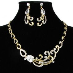 Women Gold Plate Pteris Flower Cocktail Ball Prom Jewelry Sets Online SKU-10801253