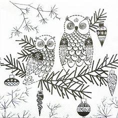 ペーパーナプキン(25)IHR:(5枚)OWL ORNAMENT(ホワイトブラック)-IH73(25)