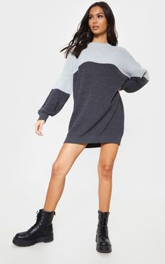 9c9027c3a285 Grey Tonal Colour Block Oversized Jumper Dress
