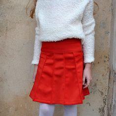 Designer knee-high neoprene skirt for girls in orange/ winter girls skirt/ toddler girl winter skirt/ boutique skirt girls/ christmas outfit