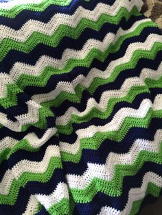 "Seattle Seahawks Colors Inspired Handmade Crochet Afghan Blue Green White 65"" x 60"" Football Stadium Game Day Blanket Throw GO HAWKS! by kitchenklutter on Etsy"