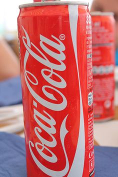 Long and thin coke can.