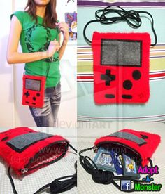 Red Gameboy Side Bag. Need to hatch ideas on how to crochet a clear pink one