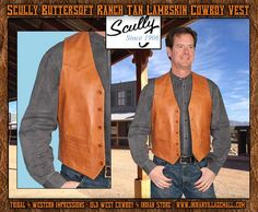 Scully Buttersoft Ranch Tan Lambskin Cowboy Vest- From Tribal And Western Impressions - Old West Cowboy And Indian store - www.indianvillagemall.com