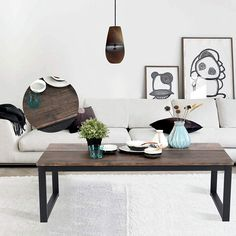 37a436a3ec31b Aingoo Rustic Coffee Table Large Sofa Table Mid-Century Square Metal Frame  Dark Brown Wooden