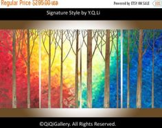 Original Large Abstract tree painting gift for her by QiQiGallery