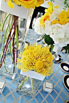 New flowers arrangements yellow table decorations Ideas Yellow Wedding Flower Arrangements, Wedding Flower Design, Yellow Wedding Flowers, Floral Arrangements, Centerpiece Wedding, Decor Wedding, Centrepieces, Wedding Shoot, Gold Wedding