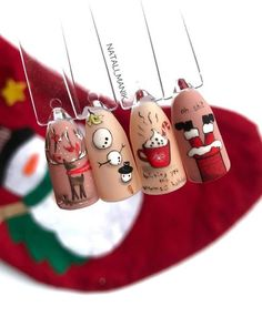 30 Lovely Christmas Nails For Loveliest Girls Christmas is the best time of year to enjoy the festivities. Here we have 30 lovely Christmas nails ideas that will sure. Nail Art Noel, Xmas Nail Art, Cute Christmas Nails, Christmas Manicure, Christmas Nail Art Designs, Xmas Nails, Winter Nail Designs, Holiday Nails, Christmas Trees