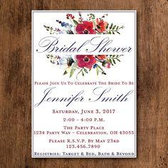 d6276f03f894 Printed Floral Bridal Shower Invitation - Winter Floral Bridal Shower  Invitation for your Bridal Shower