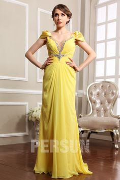 Dressesmall Persun Cap sleeves Deep V neck #Chiffon #Formal #Evening #Dress - Dressesmallau.co