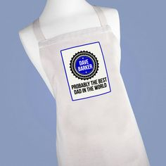 Natural Cotton Apron (100% cotton) Printed with Probably the Best Dad in the World Personalised Design  Personalise the apron with a name (up to 20 characters) One size