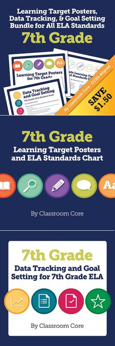 Learning Target Posters, Data Tracking, & Goal Setting Bundle for All 7th Grade ELA Standards. Based on the research of Marzano, this bundle provides everything you need for posting and tracking your learning targets. $