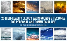 There are 25 high-quality images of clouds shot in different weather conditions that you can use as background in your designs. All photos carry a public domain license, thus, you can use them for both personal and commercial work without attribution.