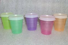 Tupperware Midgets 2oz Bowls Set of 5 Sheer Colors Purple Pink Green Orange Teal by Tupperware. $22.99. Tupperware Lifetime Warranty against breaking, cracking, chipping, peeling with non-commercial use.. Sheer containers allow contents to be seen. Virtually airtight, liquid-tight seals. Dishwasher safe. 2 ounce capacity. Perfect size for condiments in your lunch box, lotions, vitamins, supplements, fish hooks, beads, ... Tupperware Midgets have been a classic favor...