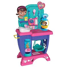Kids can pretend to take care of their beloved pet friends and animals with the Doc McStuffins Pet Vet Checkup Center, just like Doc McStuffins from the top-rated Disney Junior series! Future veterinarians will love exploring all the Checkup Center's features and accessories, including Doc's pet friend Findo who is ready for his checkup! Kids can slide in multiple play x-rays to activate lights and sounds, use the scale to weigh animals with a removable basket, and give them a bath with a…