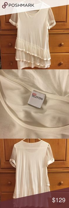 AUTHENTIC RED Valentino Ruffle Top RED Valentino white micromodal top with sheer sleeves and sheer ruffle detail. Only worn twice. RED Valentino Tops Tees - Short Sleeve