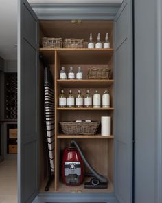 Every utility room needs a utility cupboard to put away all the essentials like a Miele vacuum cleaner (which is absolutely phenomenal especially if y… – Laundry Room Laundry Cupboard, Utility Cupboard, Larder Cupboard, Linen Cupboard, Cupboard Storage, Kitchen Cupboards, Cupboard Ideas, Living Room Cupboards, Airing Cupboard