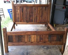 king size bed frame made with beveled posts by love