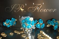 """1"""" Dia Real Like Turquoise Craft Paper Flowers Pack of 72pcs"""