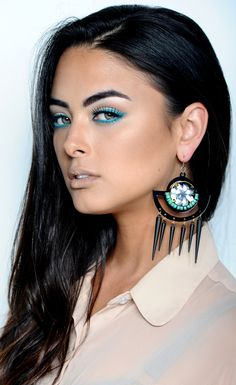 """Try """"Oceanica"""" or """"Lemongrass"""" shadows from Aveda's new ART OF NATURE collection for Spring 2013! Dip your fine, angled shadow brush in a little drop of Transformer to give your shadow a creamy texture for a smooth, liner-like application."""