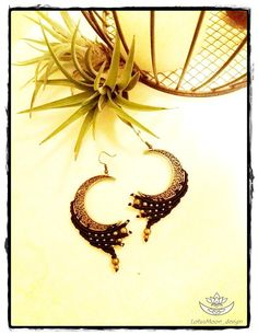 Hey, I found this really awesome Etsy listing at https://www.etsy.com/listing/558523974/macrame-moon-brass-black-earrings-boho