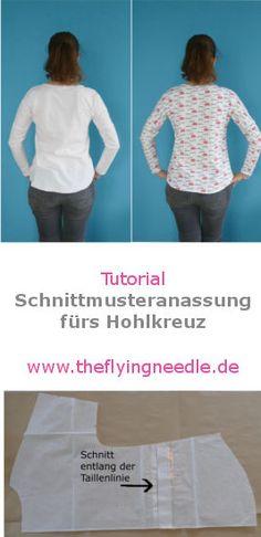 Tutorial für die Schnittmuster-Anpassung bei Hohlkreuz - Wie man ein Shirt-Schnittmuster so anpasst, dass sich kein Stoff mehr im Rücken sammelt! www.theflyingneedle.de