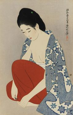estampe japonaise itō shinsui 伊東深水 artiste de l'école nihon-ga et ukiyo-e des ères taishō et shōwa (sujet intimist jeune femme nu kimono palette bleu rouge) Japan Illustration, Art Occidental, Art Chinois, Japan Painting, Art Asiatique, Art Japonais, Japan Art, Japan Japan, Japanese Prints