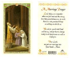 This card features religious picture of a couple receiving the holy sacrament of marriage on one side and a prayer that blesses the marriage of any Catholic couple. Wedding Anniversary Prayer, Wedding Prayer, Wedding Bible, Wedding Day Quotes, Marriage Prayer, Catholic Wedding, Faith Prayer, Love And Marriage, Wedding Ideas