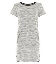Keep daytime looks simple with this fine knit tunic dress - pair with black block heel ankle boots to complement.- Fine knit- Zip pocket side- Rounded neckline- Simple short sleeves- Casual fit- Mini length- Model is and wears UK 6 Day Dresses, Dress Outfits, Evening Dresses, Dresses For Work, Chic Dress, Dress Collection, New Dress, Short Sleeve Dresses, Short Sleeves