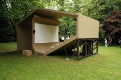 Cineorama - Pavilion of Moving Images, 2012 by Erika Hock and Philipp Fürnkäs (Kunstverein Malkasten) Outdoor Stage, Outdoor Cinema, Outdoor Theater, Cinema Architecture, Landscape Architecture, Landscape Design, Home Cinemas, Booth Design, Outdoor Living