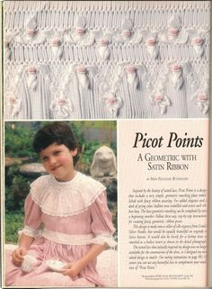 Ribbon woven in the smocking - Sew Beautiful Easter 1997 page 34