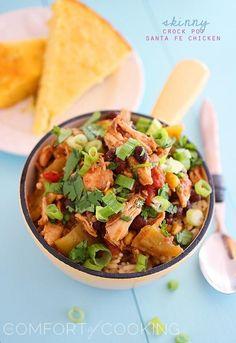 The Comfort of Cooking » Skinny Crock Pot Santa Fe Chicken. ☀CQ #crockpot #slowcooker http://www.pinterest.com/CoronaQueen/crockpot-corona/