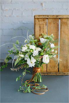 copper ribbon bridal bouquet- Lauren Carnes Photography