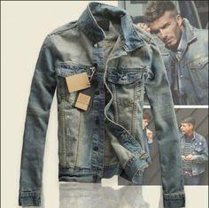 Denim-Vintage-Mens-Slim-Fit-Classic-Retro-Thicken-Coat-Jean-Jacket-Outerwear